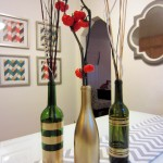 DIY Spray Painted Wine Bottles for Fall Decorating