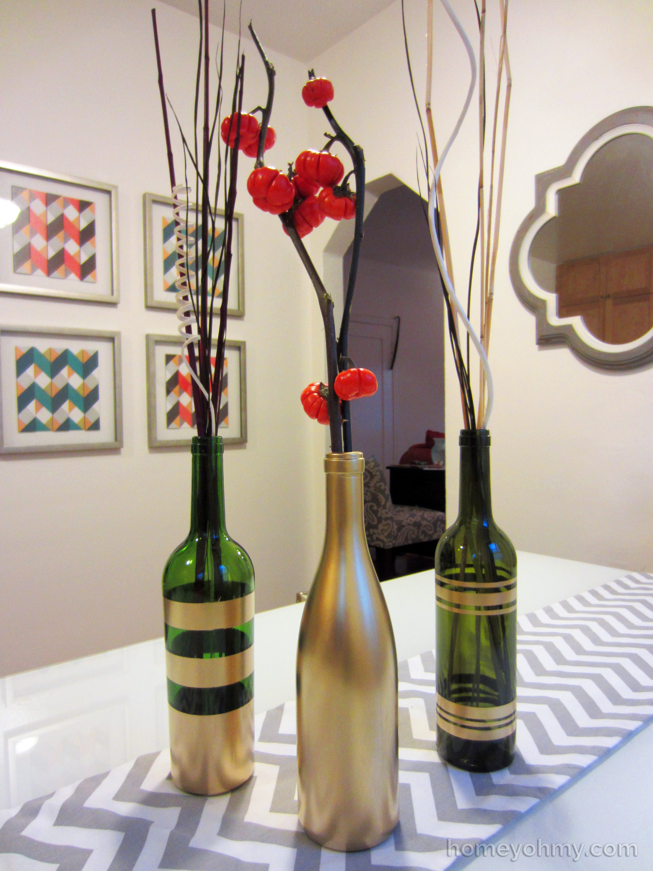Diy spray painted wine bottles for fall decorating homey for What paint do you use to paint wine glasses