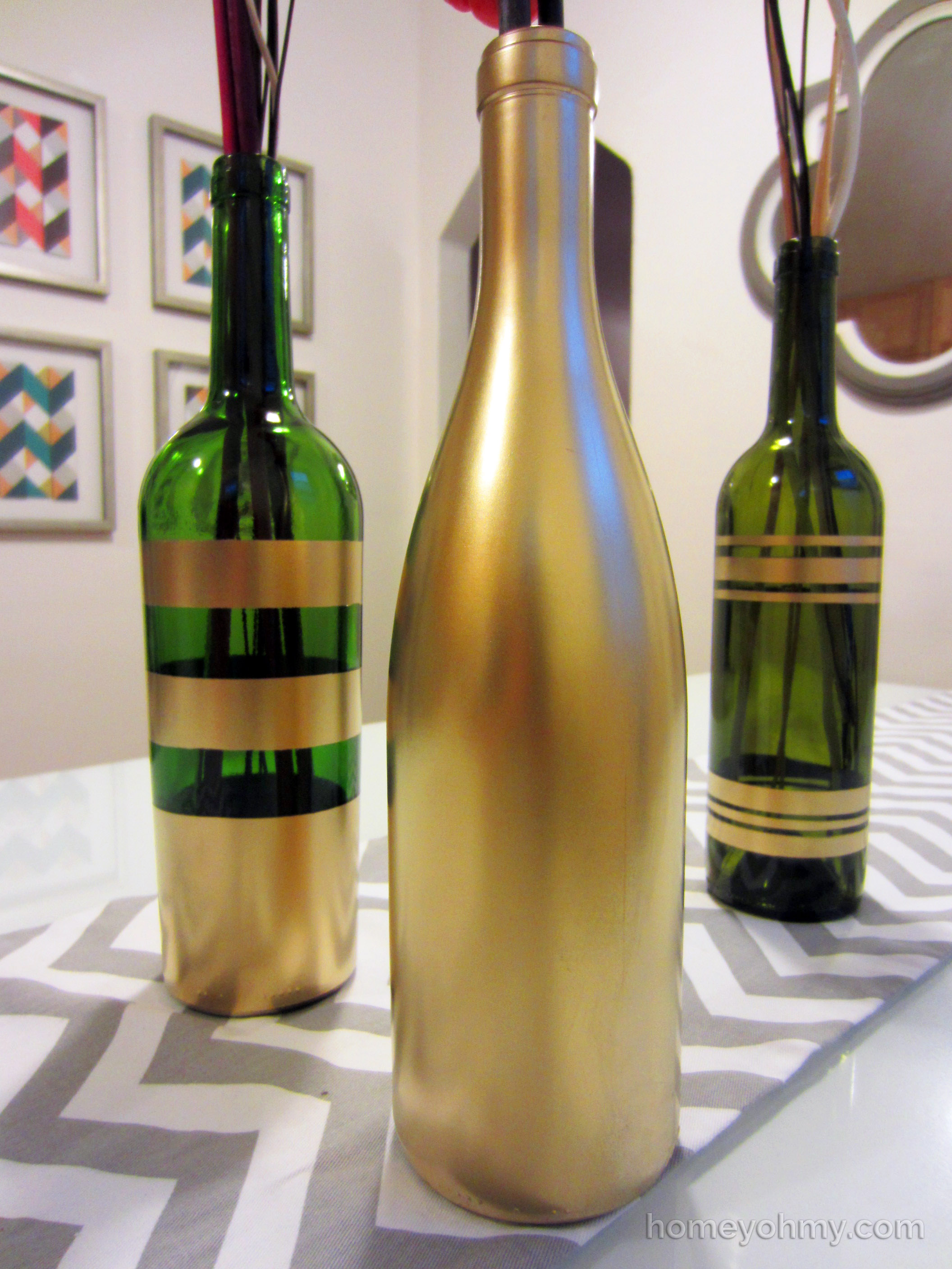 Diy spray painted wine bottles for fall decorating homey Painting old glass bottles