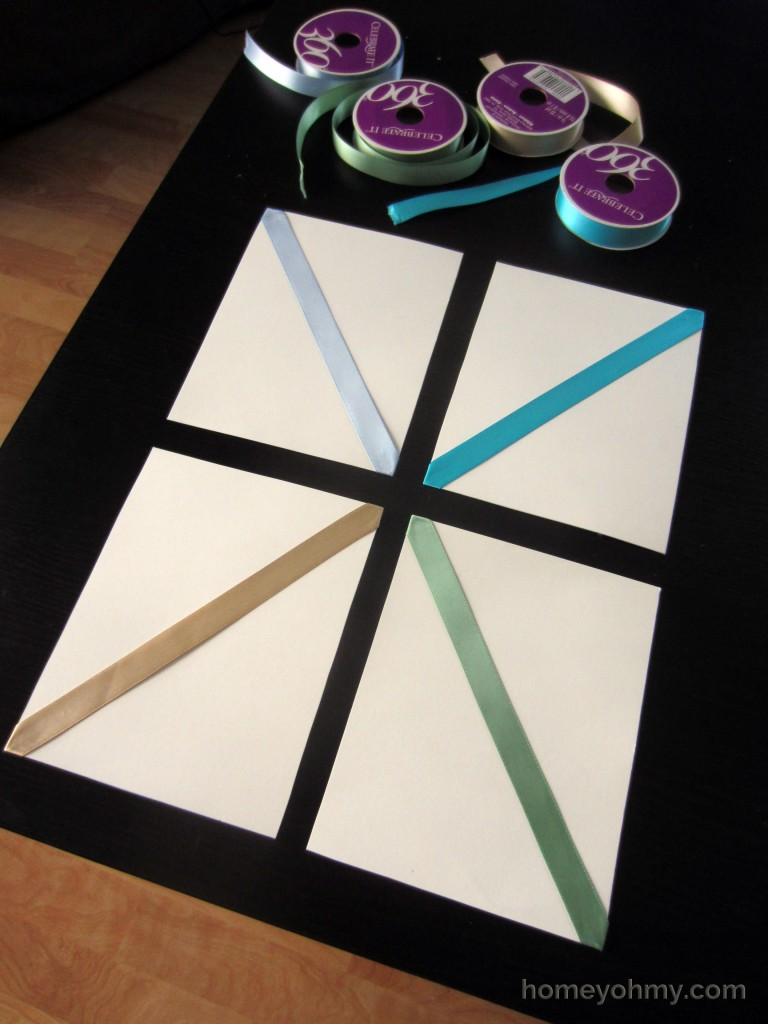 DIY Wall Art With Ribbon Diagonals