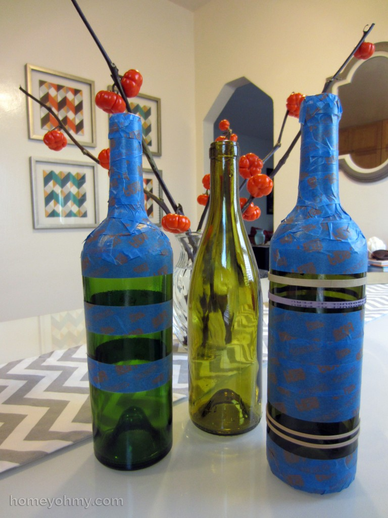 Taped Wine Bottles