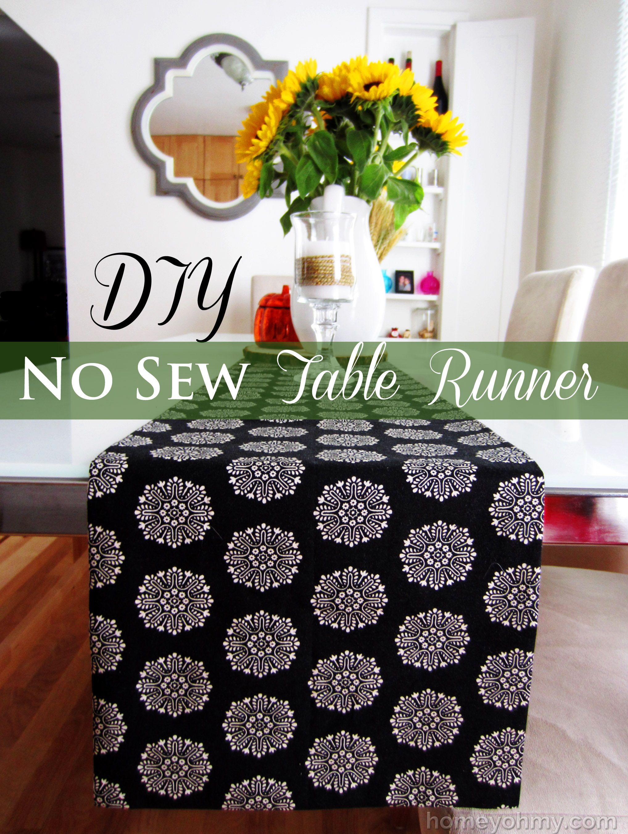 diy no sew table runner homey oh my. Black Bedroom Furniture Sets. Home Design Ideas