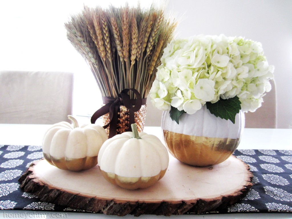 Gold Dipped Pumpkins Centerpiece