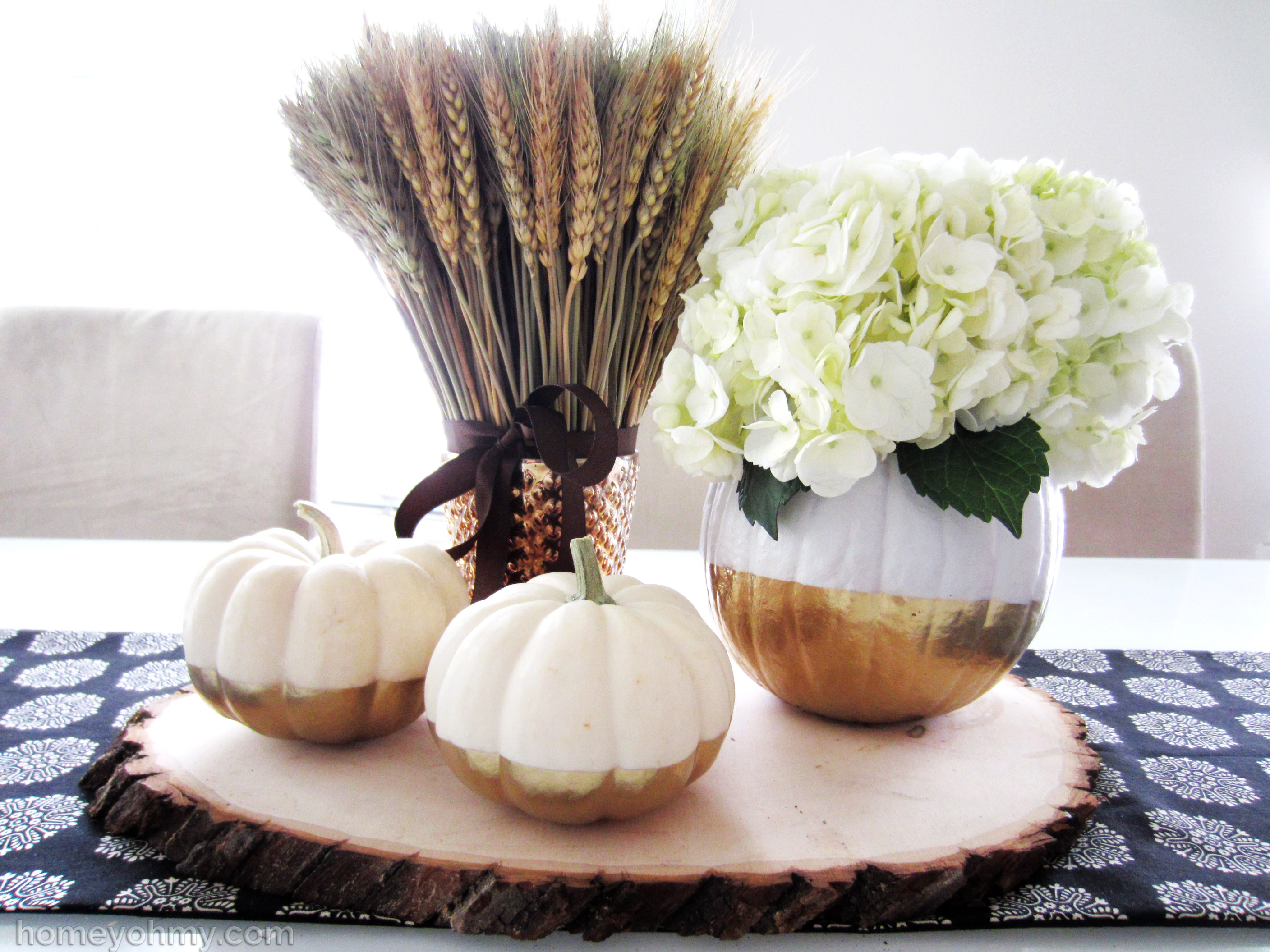 Diy gold dipped pumpkin vase homey oh my