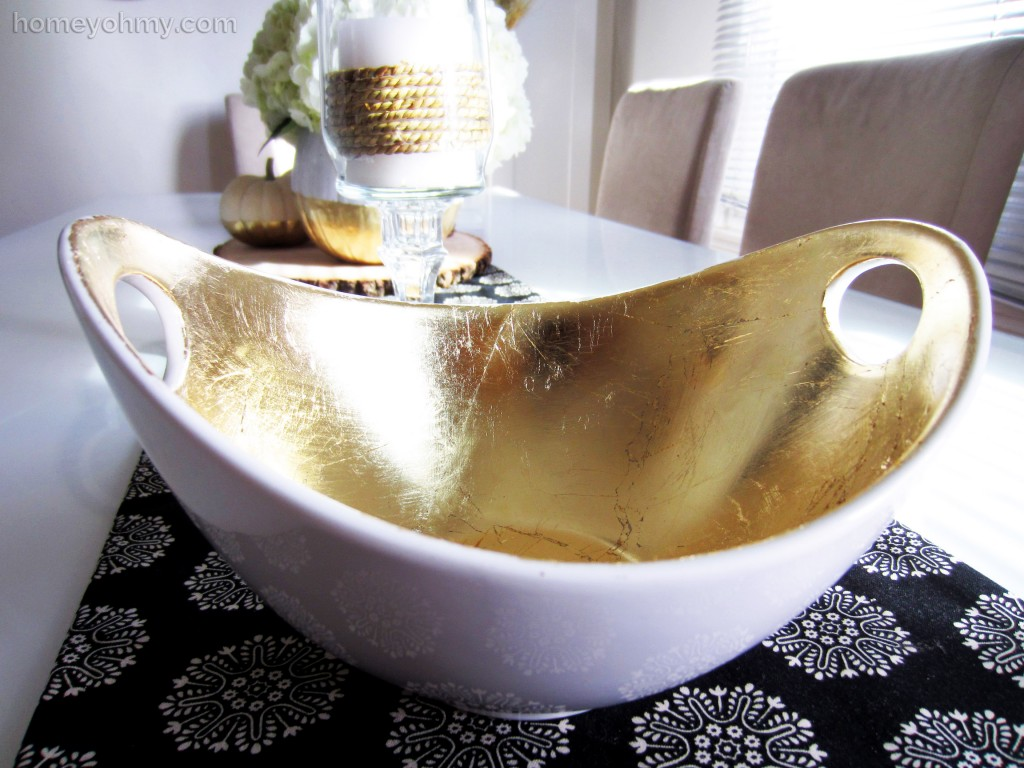 Gold leaf serving bowl