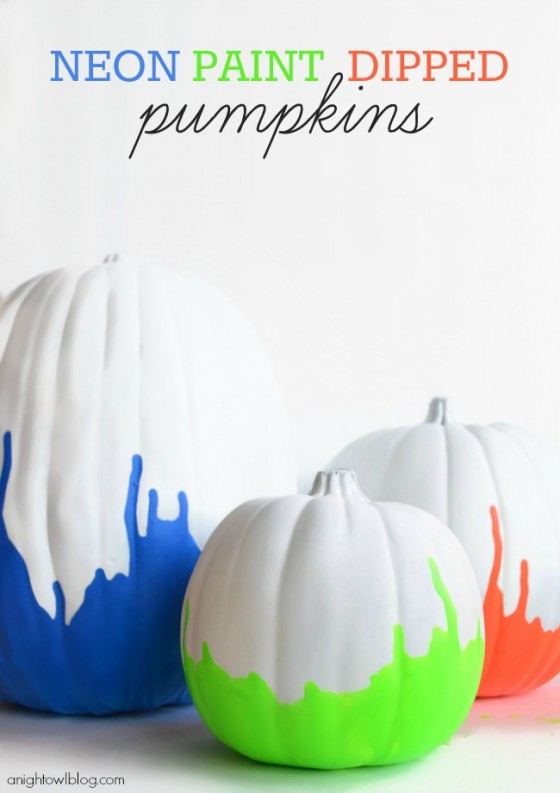 Neon Paint Dipped Pumpkins A Night Owl