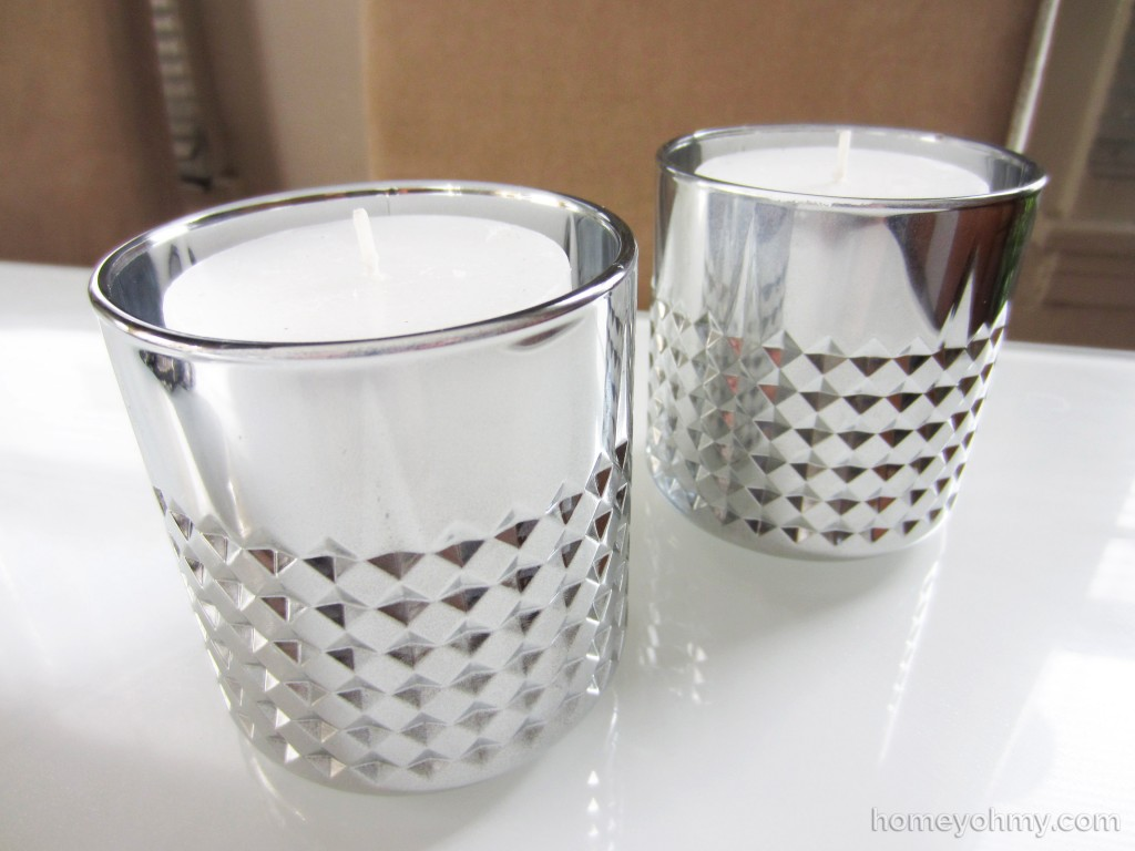 DIY mercury glass votive candle holders with candles