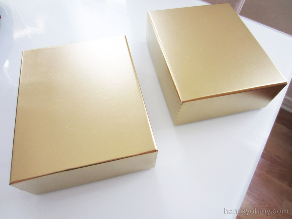Gold painted boxes