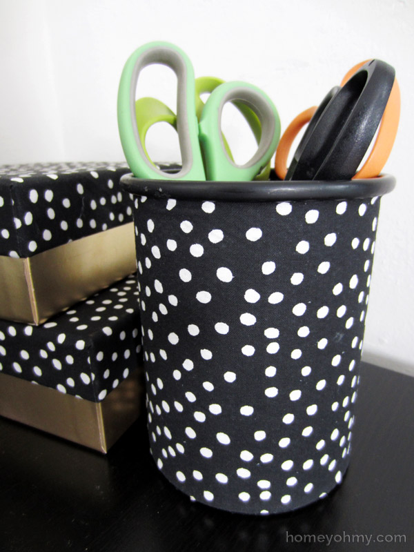 Fabric covered pencil cup