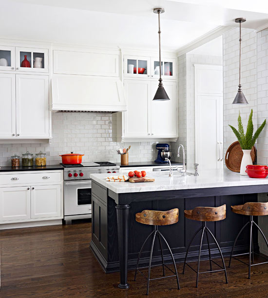 Decorating with red homey oh my - White kitchen red accents ...