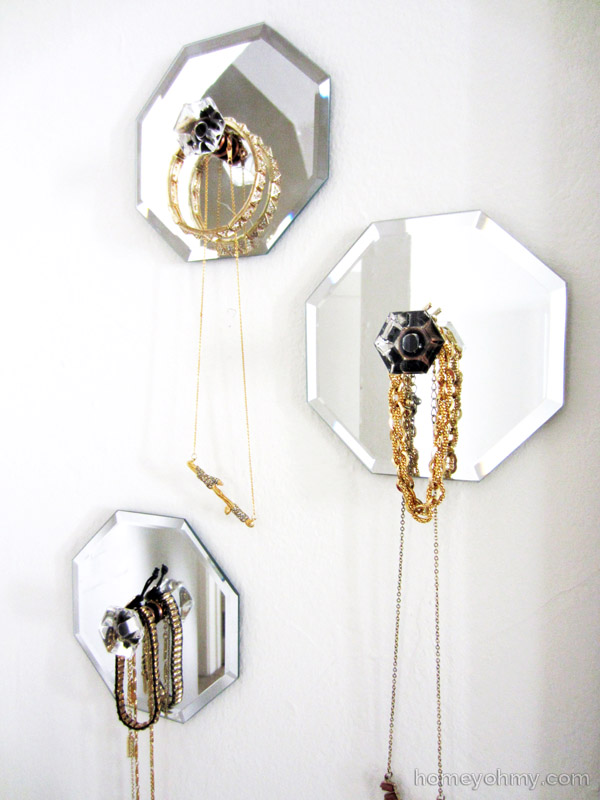 Diy mirror jewelry wall hangers for Mirror hangers