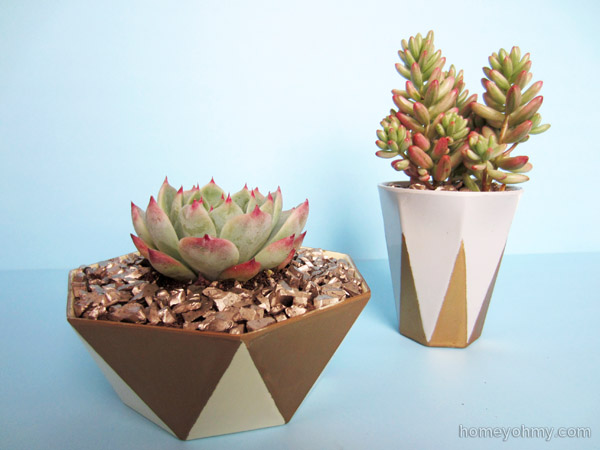DIY gold geo planters