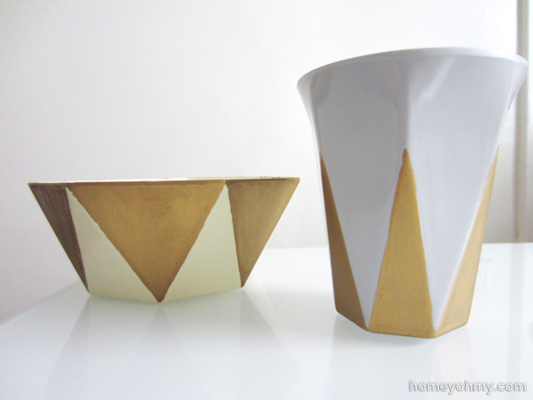 Painted geo planters