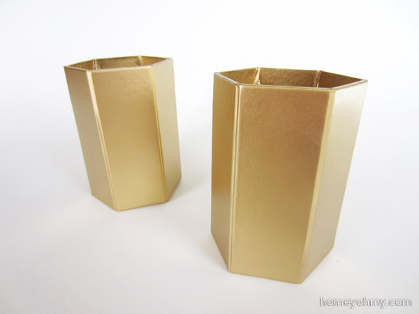 Pencil cups painted gold