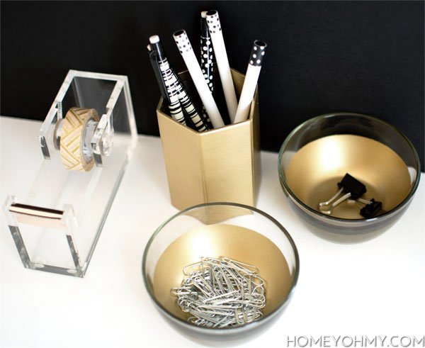 Gold Desk Dishes DIY