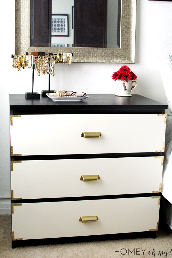 campaign style dresser ikea malm makeover homey oh my. Black Bedroom Furniture Sets. Home Design Ideas