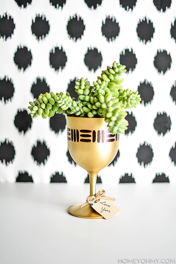 DIY Gold Goblet Planter with Gift Tag