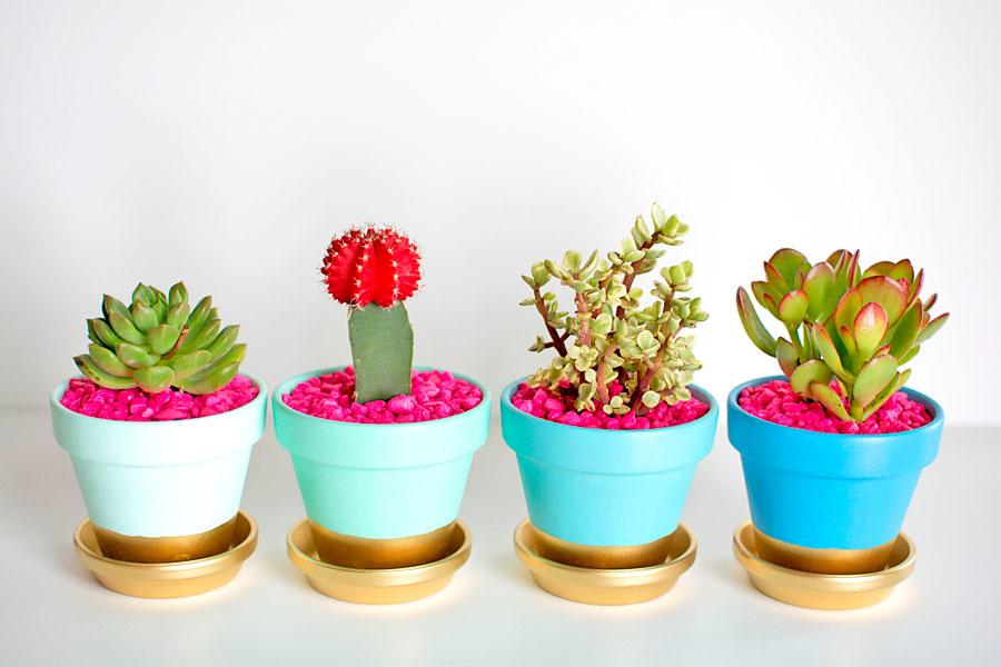 Cute Plant Pots Part - 23: Gold Dipped Plant Pots