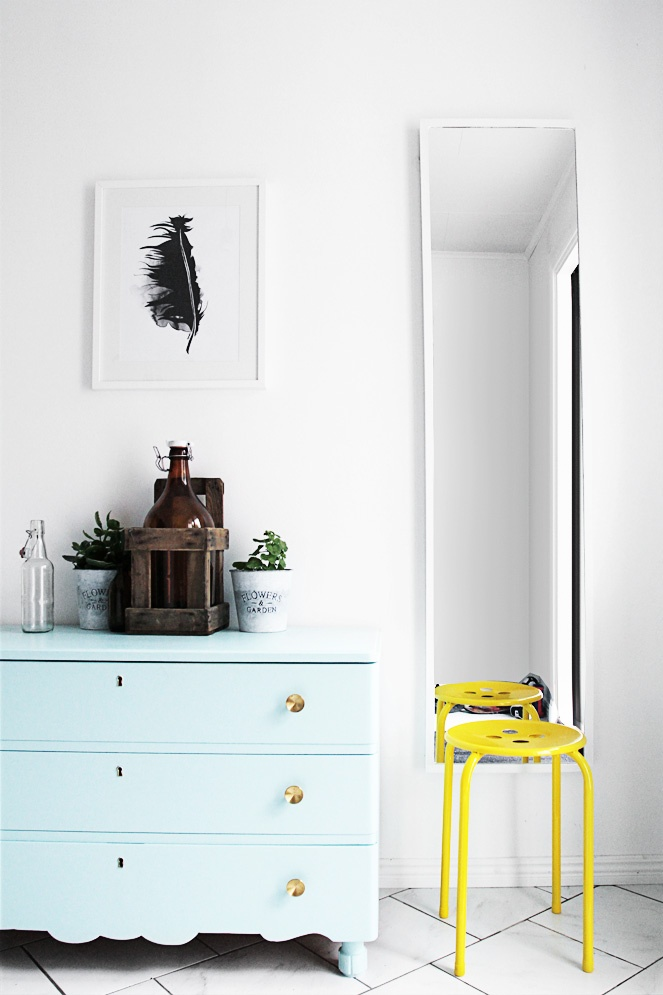 Mint dresser and neon yellow stool