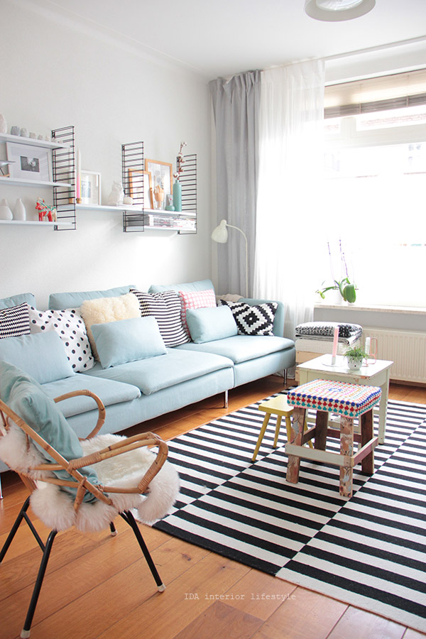 Pastel blue couch