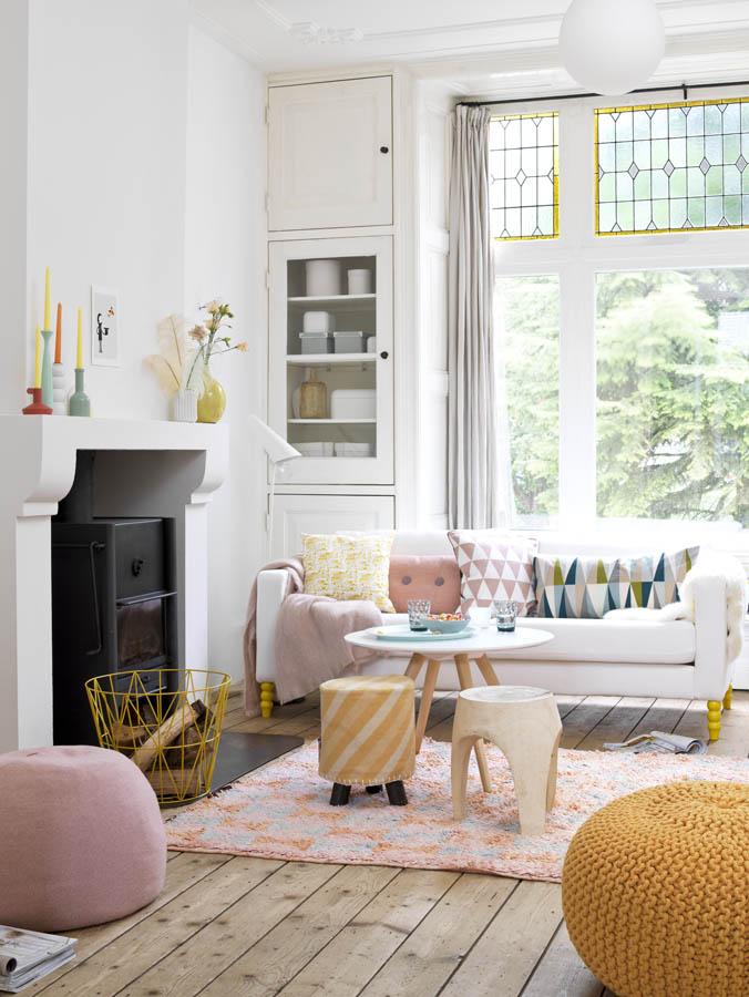 Pastel modern living room