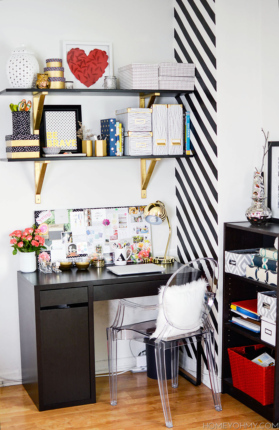 Gorgeous small workspace with black and gold accents