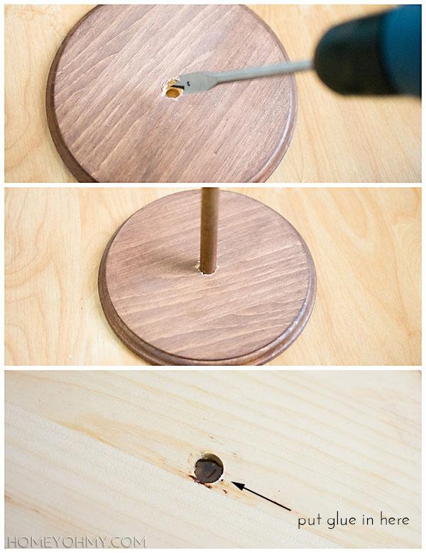 Attaching wood dowel