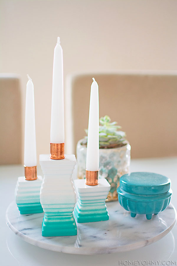 DIY Ombre Cement Candle Holders Centerpiece