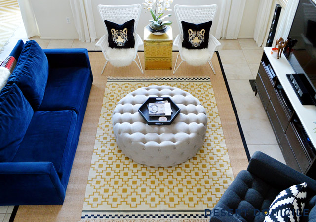 Layered living room rugs