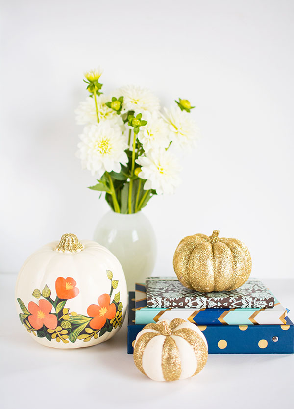 DIY Floral and glitter no carve pumpkins