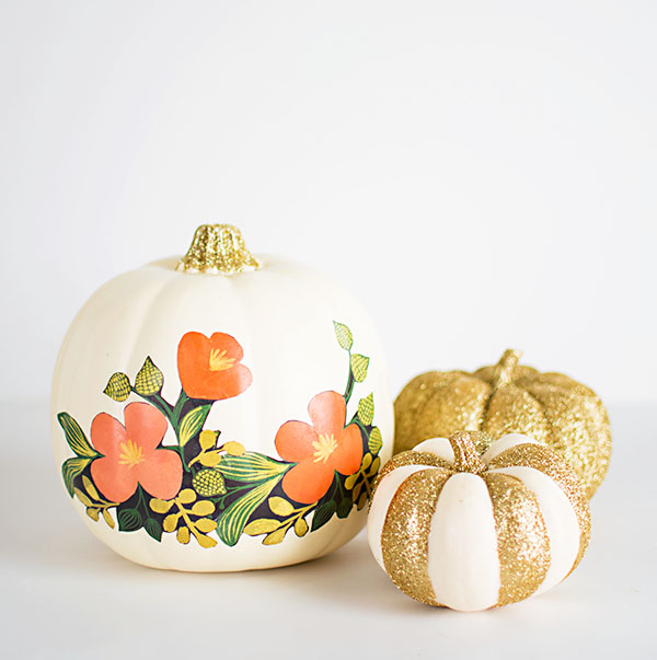 Diy floral and glitter pumpkins Flower painted pumpkins