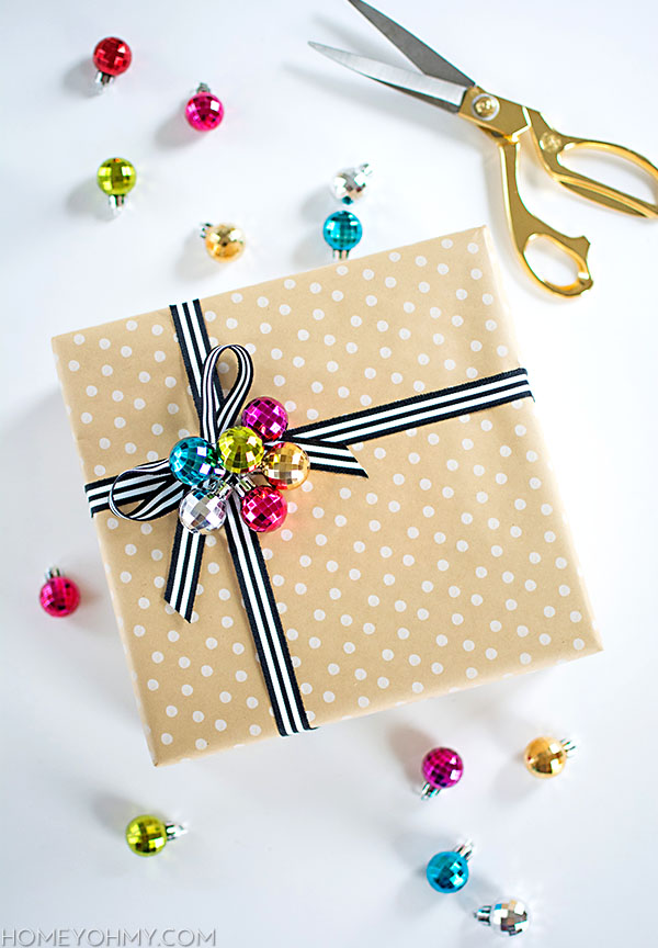 DIY ornament cluster gift topper