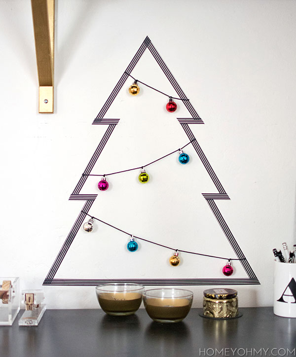diy washi tape christmas tree homey oh my. Black Bedroom Furniture Sets. Home Design Ideas
