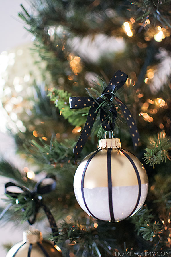 Black white and gold ornament