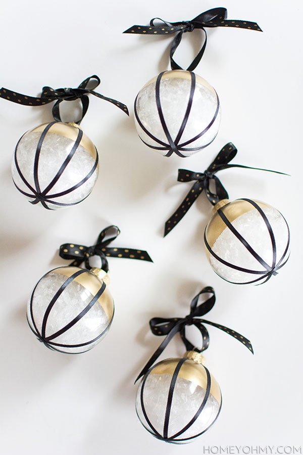 DIY Black white gold ornaments