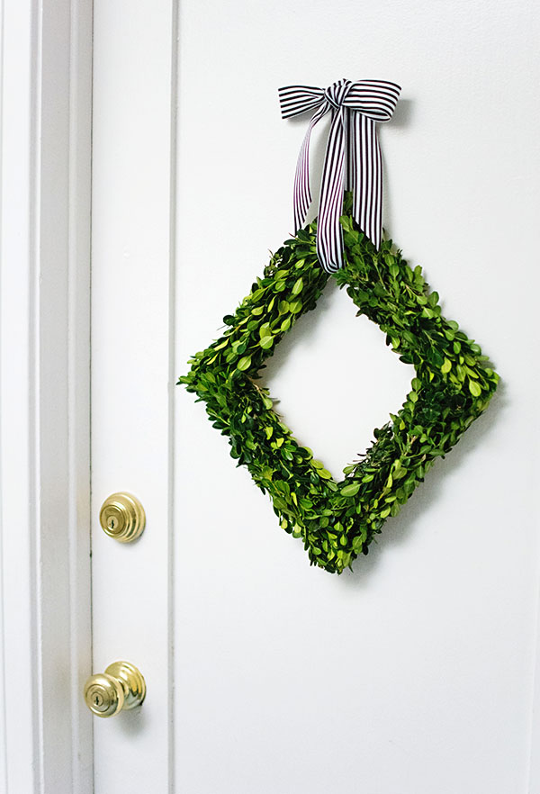 DIY Boxwood Diamond Wreath
