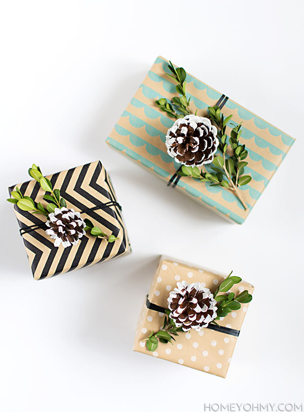 DIY Pine Cone and Boxwood Gift Toppers