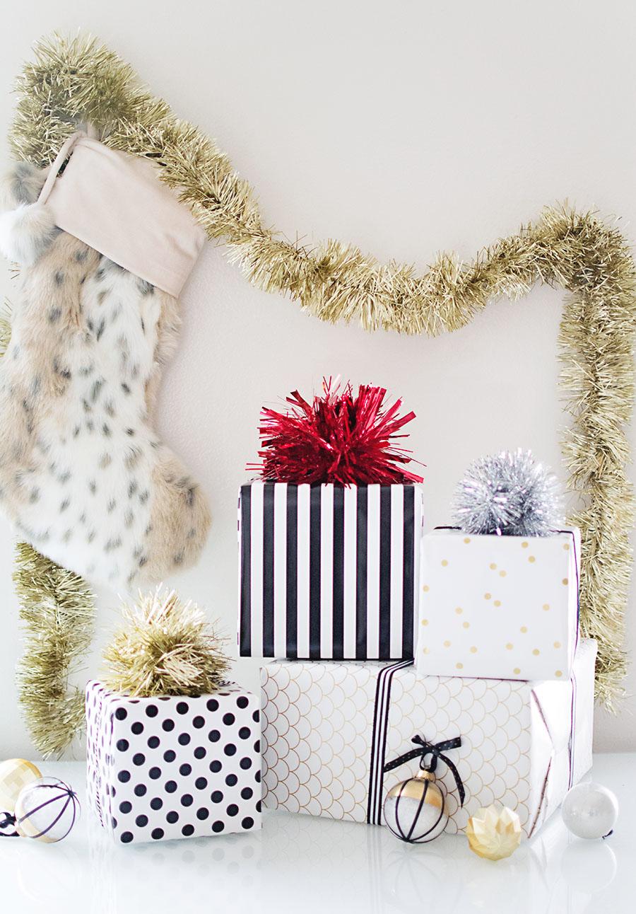 DIY Tinsel pom pom gift toppers