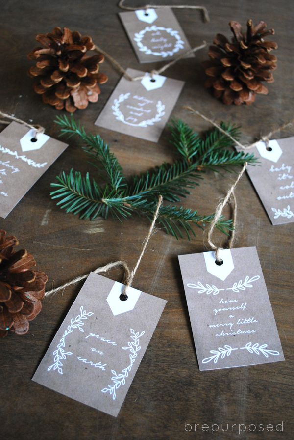 Neutral Christmas Gift Tags from Brepurposed