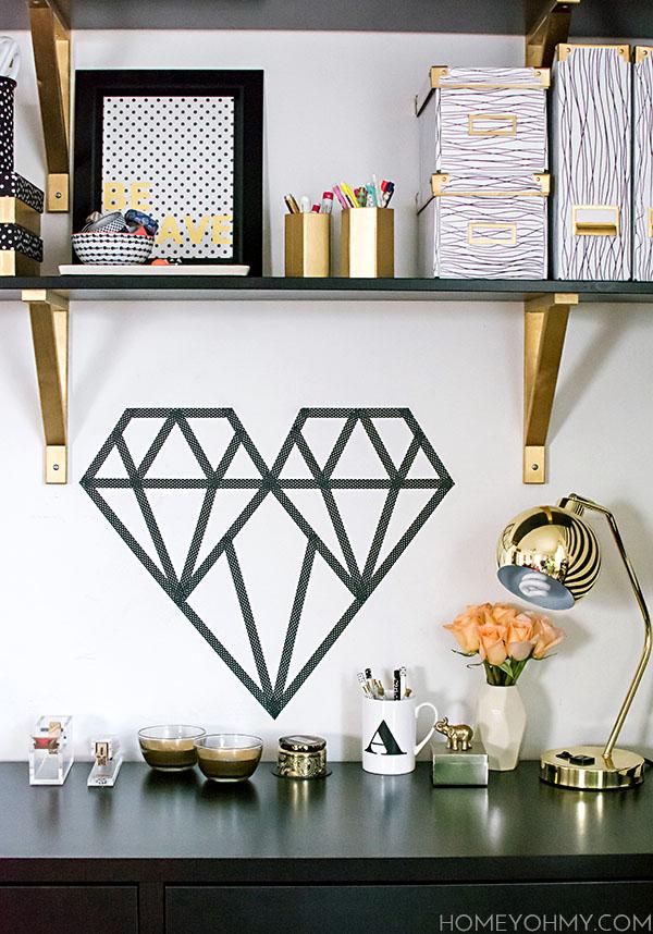 Diy washi tape geometric heart for Geometric wall art diy