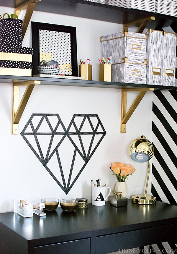 Diy washi tape geometric heart for Geometric washi tape designs