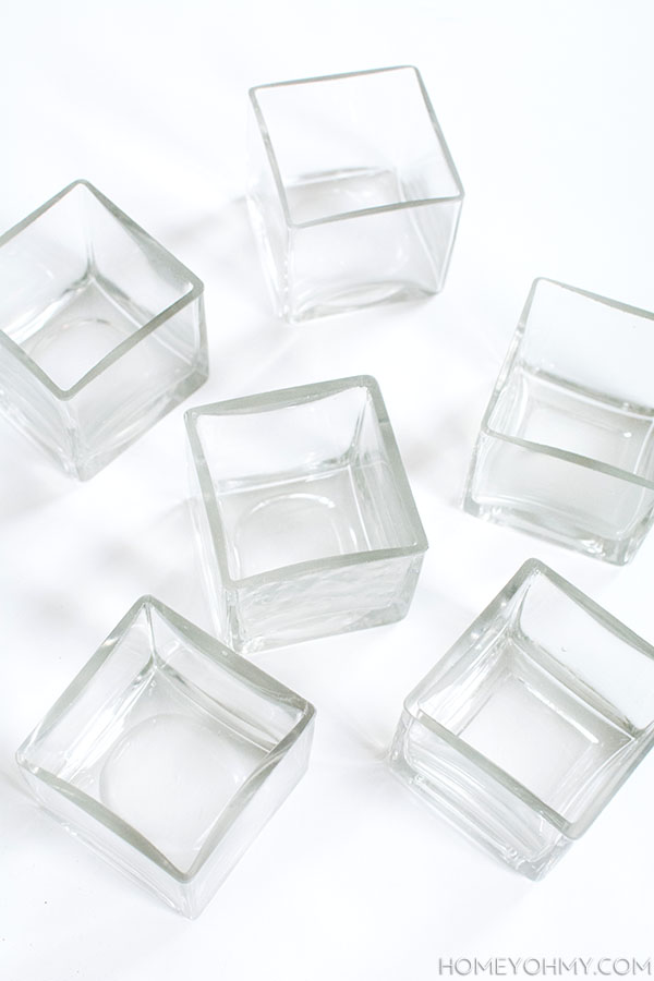 Glass cube vases