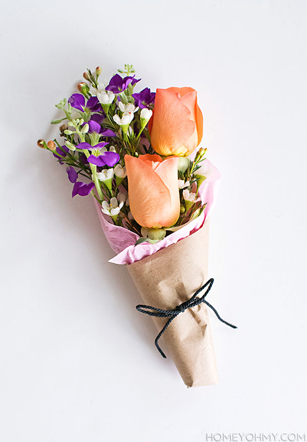 DIY Mini Flower Bouquets - Homey Oh My