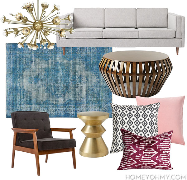 Mid century modern glam living room inspiration homey oh for Interior design inspiration mid century