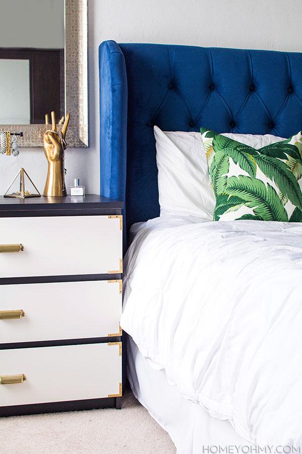 Blue headboard banana leaf pillow