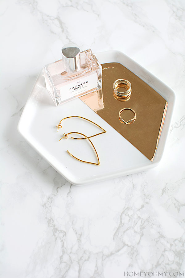 Mirrored gold hexagon tray DIY