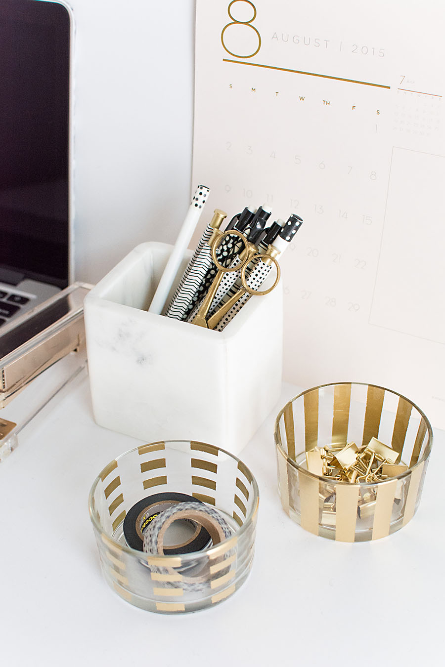 DIY Gold desk organizers