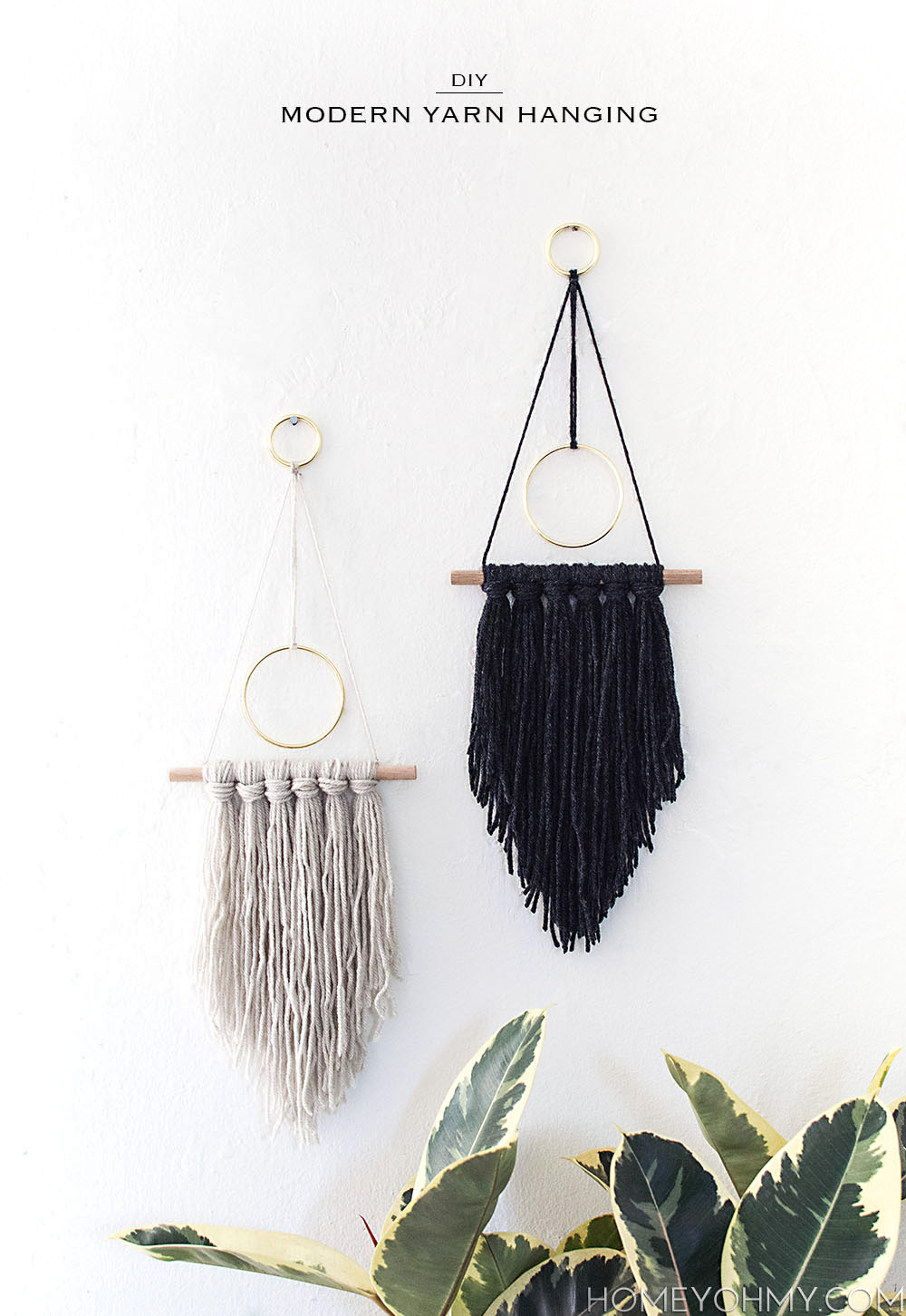 diy modern yarn hanging  homey oh my - diy modern wall hanging