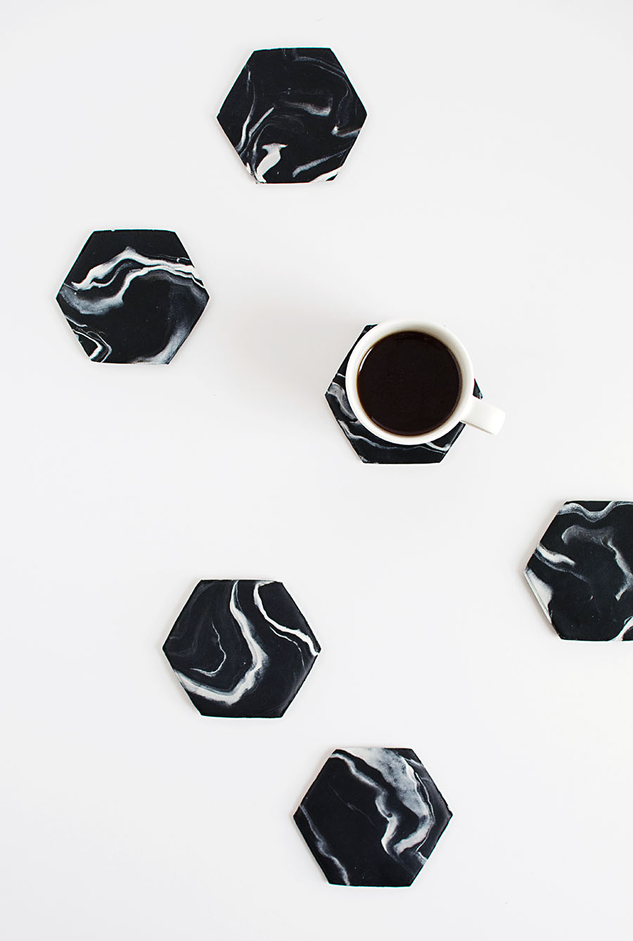 Marble Hexagon Coasters