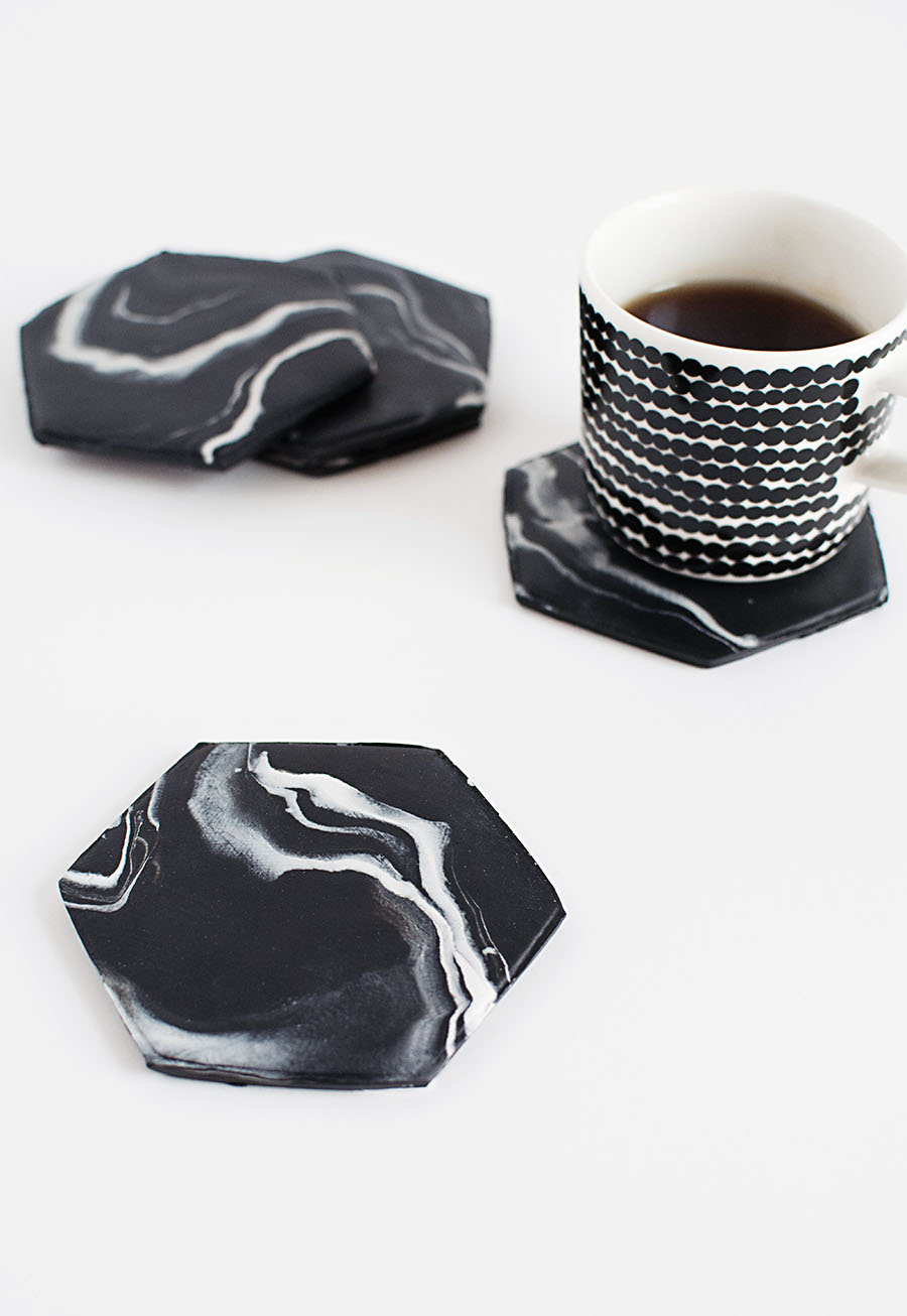 DIY - Black Marble Hexagon Coasters